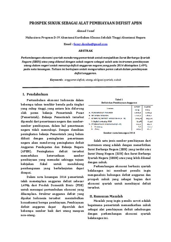 Pdf Prospek Sukuk Sebagai Alat Pembiayaan Defisit Apbn