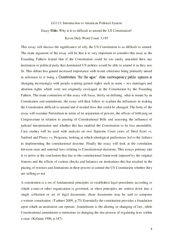 us constitution flexibility essay