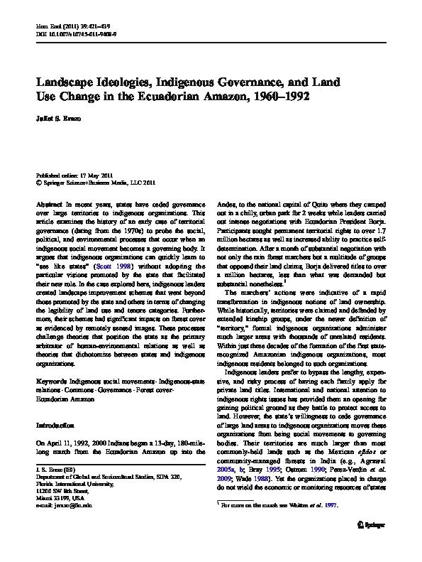 Pdf Landscape Ideologies Indigenous Governance And Land Use Change In The Ecuadorian Amazon 1960 1992 Juliet Erazo Academia Edu