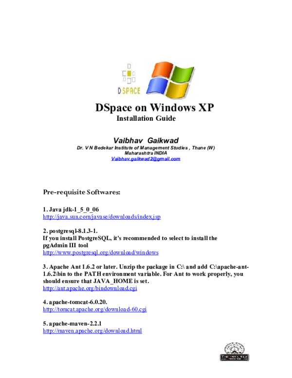 PDF) DSpace on Windows XP Installation Guide Vaibhav Gaikwad Pre