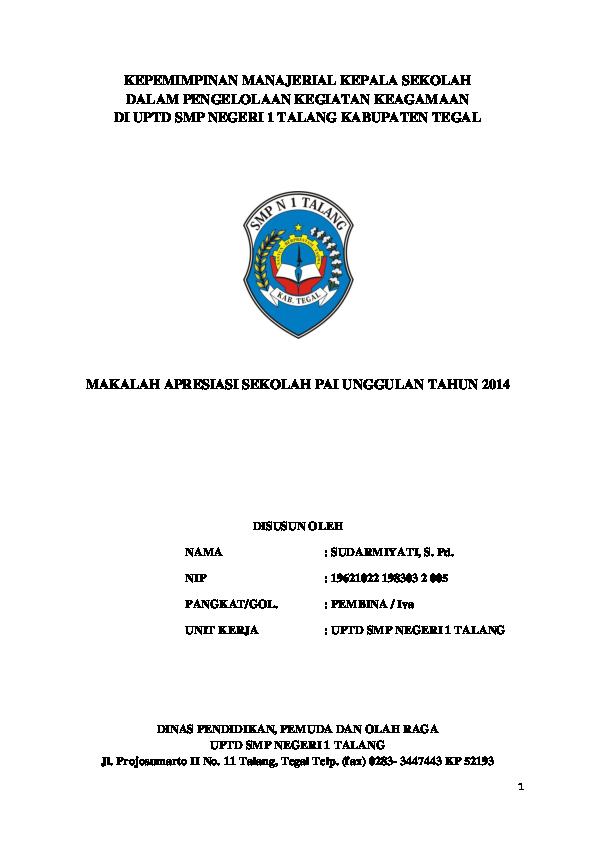 Doc Kepemimpinan Manajerial Kepala Sekolah Dalam Pengelolaan Kegiatan Keagamaan Di Uptd Smp Negeri 1 Talang Kabupaten Tegal Jack Poth Academia Edu