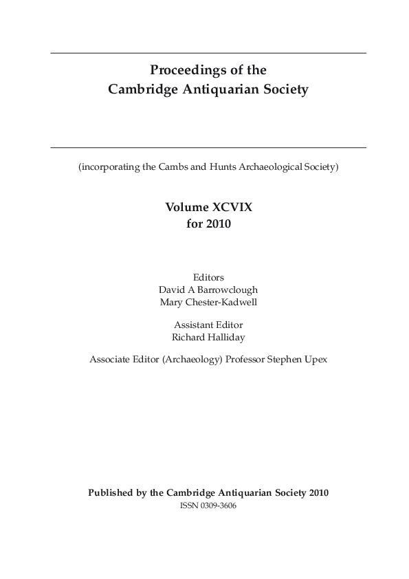 2f393b1e359 Proceedings of the Cambridge Antiquarian Society Vol XCIX