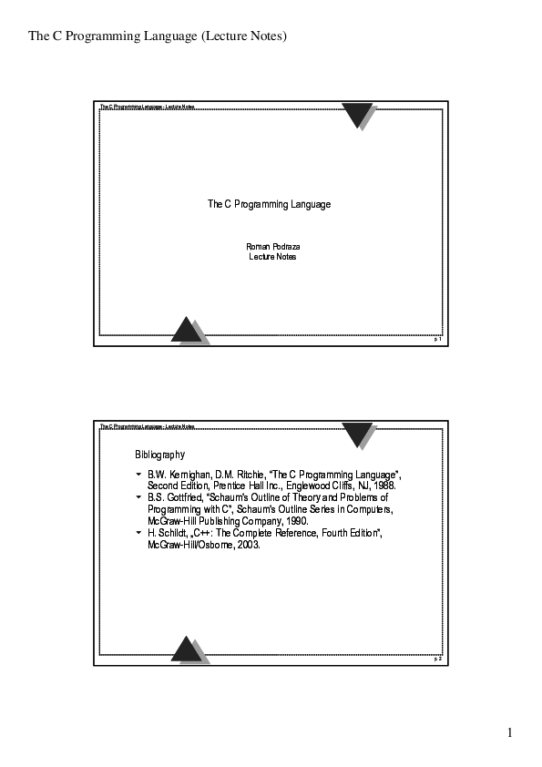 PDF) The C Programming Language- Lecture Notes Bibliography