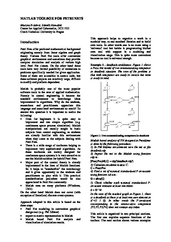 PDF) MATLAB TOOLBOX FOR PETRI NETS | Domenico Carlucci - Academia edu