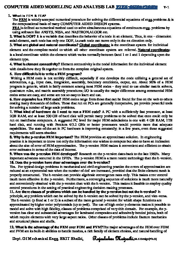 PDF) COMPUTAER AIDED MODELLNG AND ANALYSIS | Rajashekar