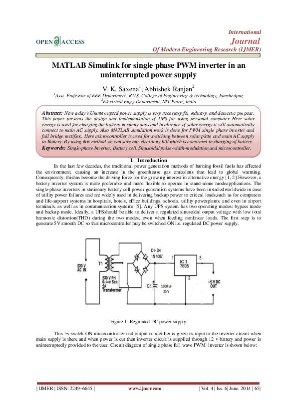 PDF) MATLAB Simulink for single phase PWM inverter in an