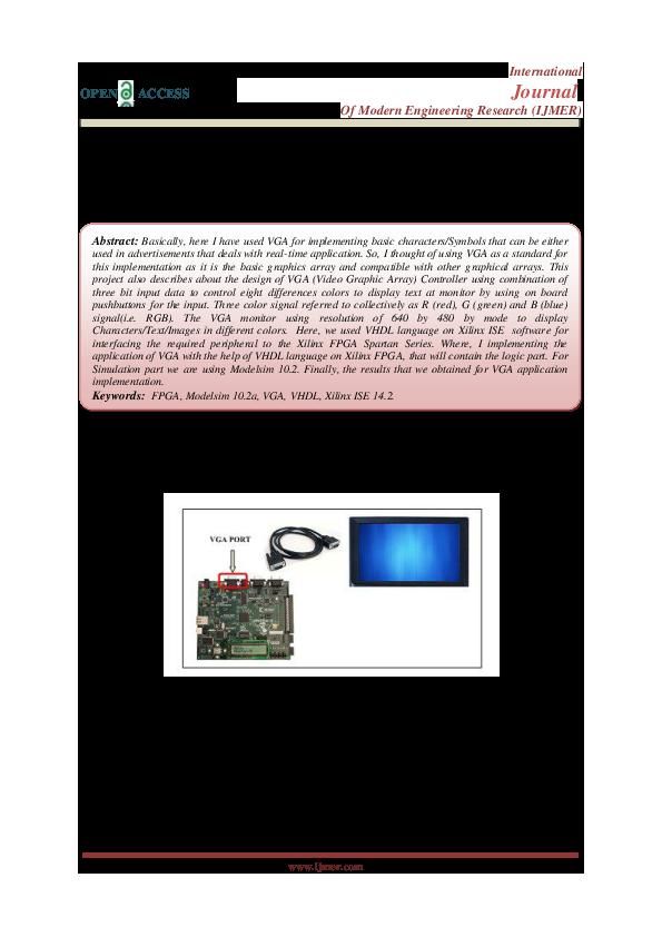 PDF) Design of VGA Controller using VHDL for LCD Display using FPGA