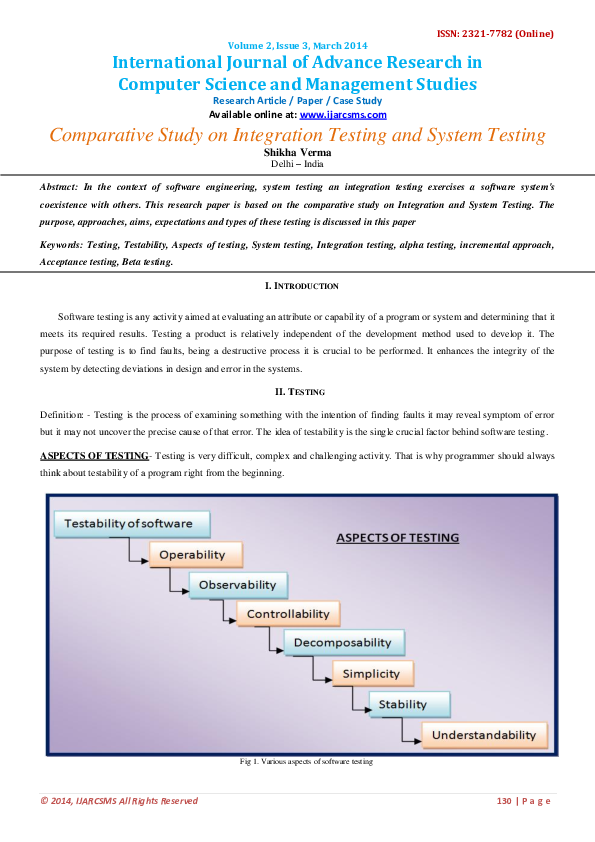 PDF) Comparative Study on Integration Testing and System