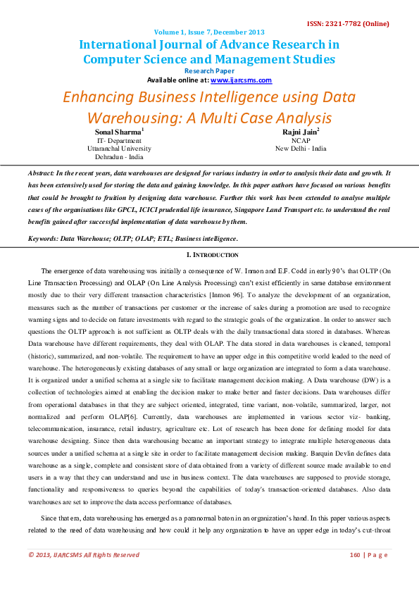 PDF) Enhancing Business Intelligence using Data Warehousing: A Multi