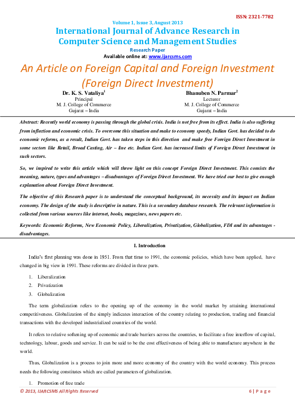 PDF) An Artical on Foreign Capital and Foreign Investment