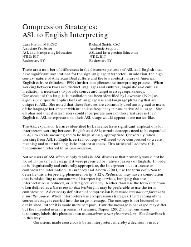 Compression Strategies Asl To English Interpreting William Ross