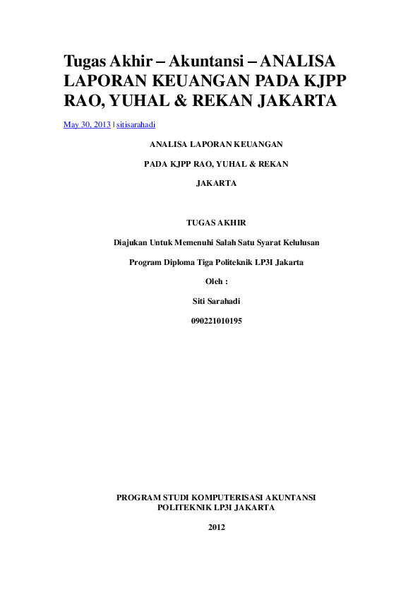 Doc Contoh Tugas Akhir Muhammad Hadinaufal Academia Edu