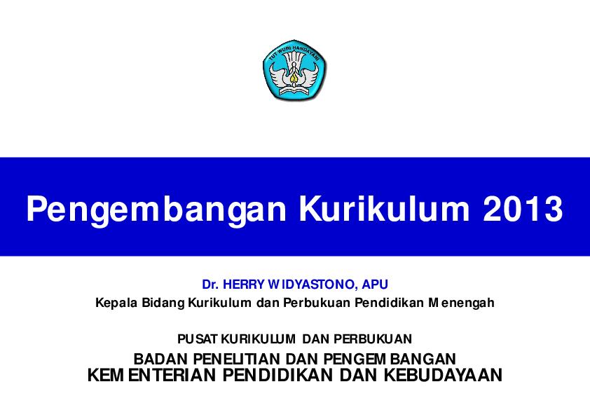 Pdf Pengembangan Kurikulum 2013 Kementerian Pendidikan Dan Kebudayaan Dewinta Estu Putri Pertiwi Academia Edu