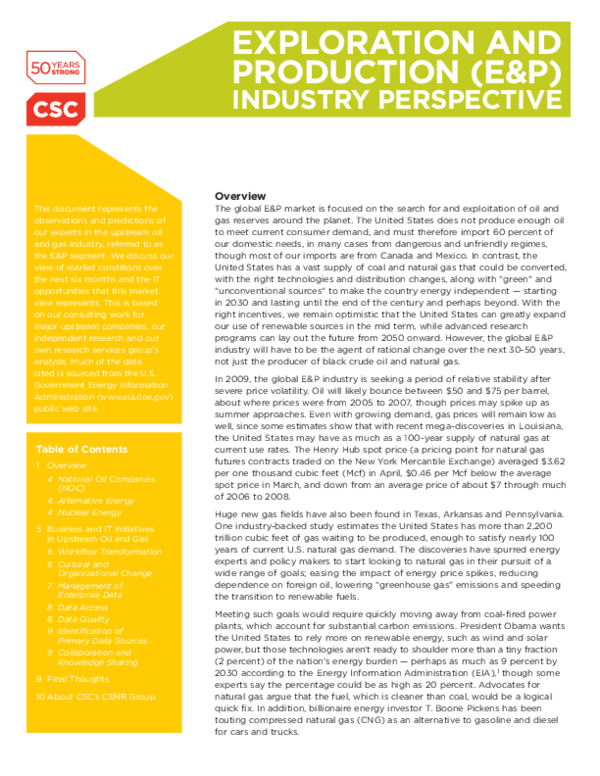 PDF) EXPLORATION AND PRODUCTION (E&P) INDUSTRY PERSPECTIVE