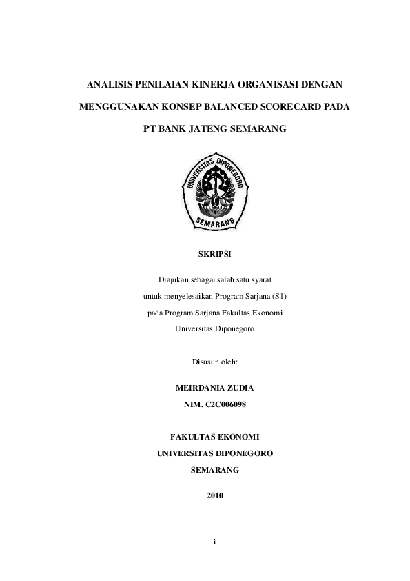 Pdf Skripsi Analisis Penilaian Kinerja Organisasi Dengan Menggun Amir Faizal Academia Edu