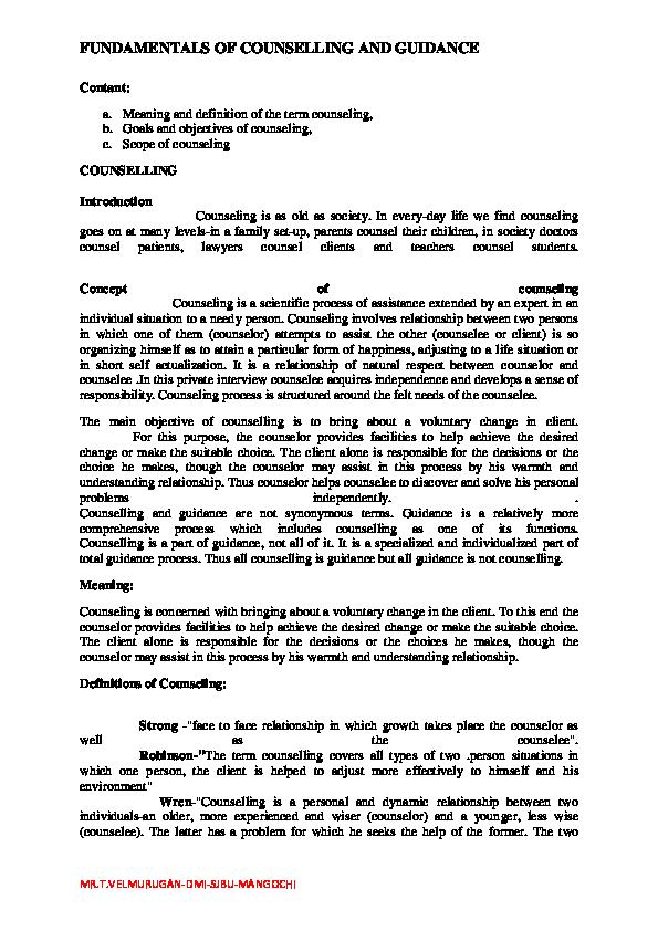 PDF) Counselling | vel murugan - Academia edu