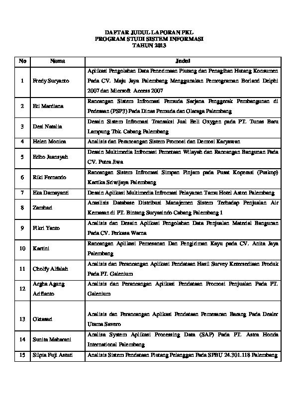 Pdf Daftar Judul Laporan Pkl Program Studi Sistem Informasi Tahun 2013 San Adji Academia Edu