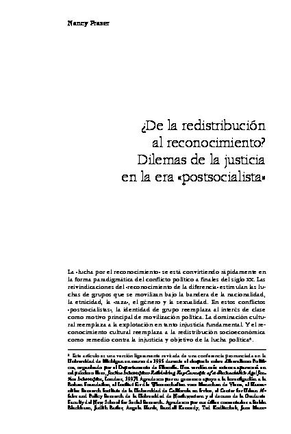 Pdf Nancy Fraser De La Redistribucion Al Reconocimiento Dilemas De La Justicia En La Era Postsocialista Indiana Vallejos Academia Edu