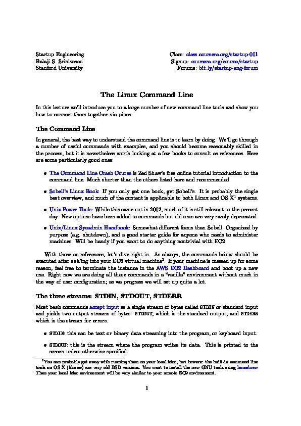 PDF) Lecture slides lecture4a-linux-command-line | Edgar