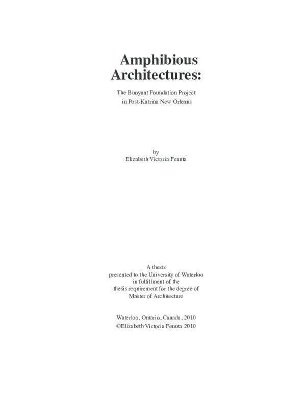 PDF) Amphibious Architectures: The Buoyant Foundation