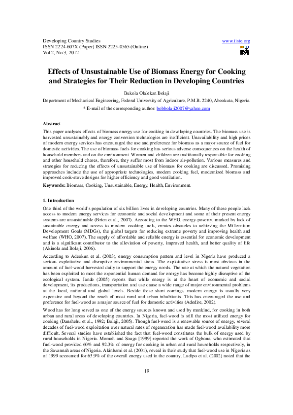 PDF) Effects of Unsustainable Use of Biomass Energy for Cooking and