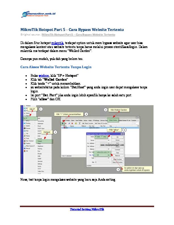 PDF) MikroTik Hotspot Part 5 – Cara Bypass Website Tertentu   Adam