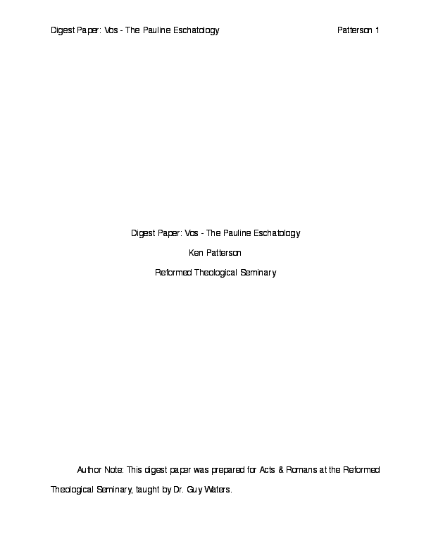 PDF) Digesting Geerhardus Vos - The Pauline Eschatology   Ken