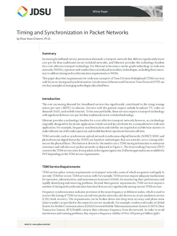 PDF) Timing and Synchronization in packet based networks, PTP/1588v2