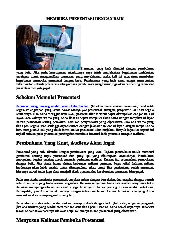 Doc Membuka Presentasi Dengan Baik Hjr Elvina Academia Edu