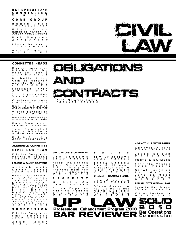 Obligations And Contracts Reviewer Pdf