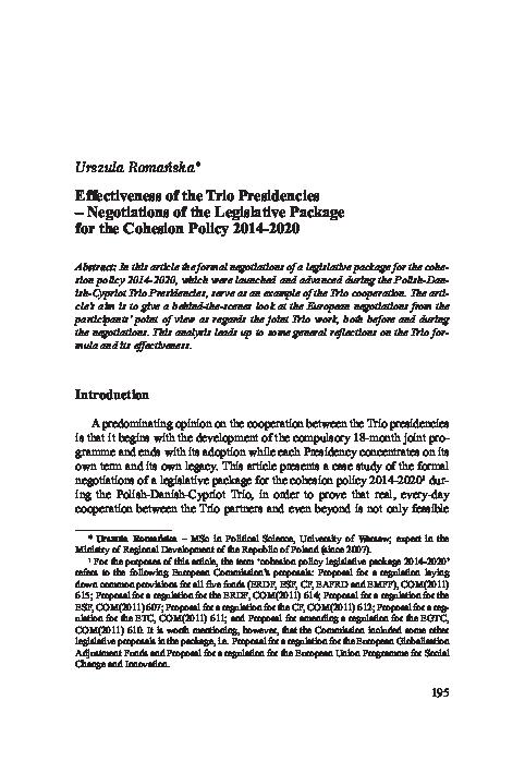 Pdf Effectiveness Of The Trio Presidencies Negotiations Of The Legislative Package For The Cohesion Policy 2014 2020 Urszula Romanska Academia Edu