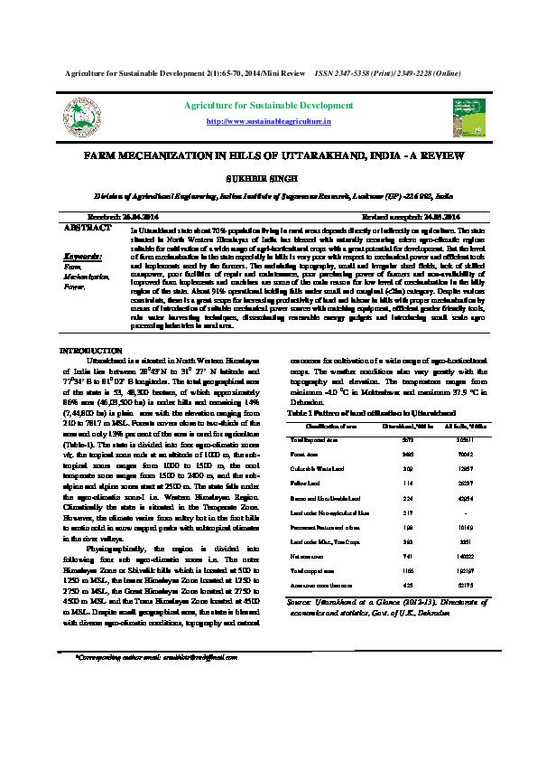 (PDF) FARM MECHANIZATION IN HILLS OF UTTARAKHAND, INDIA