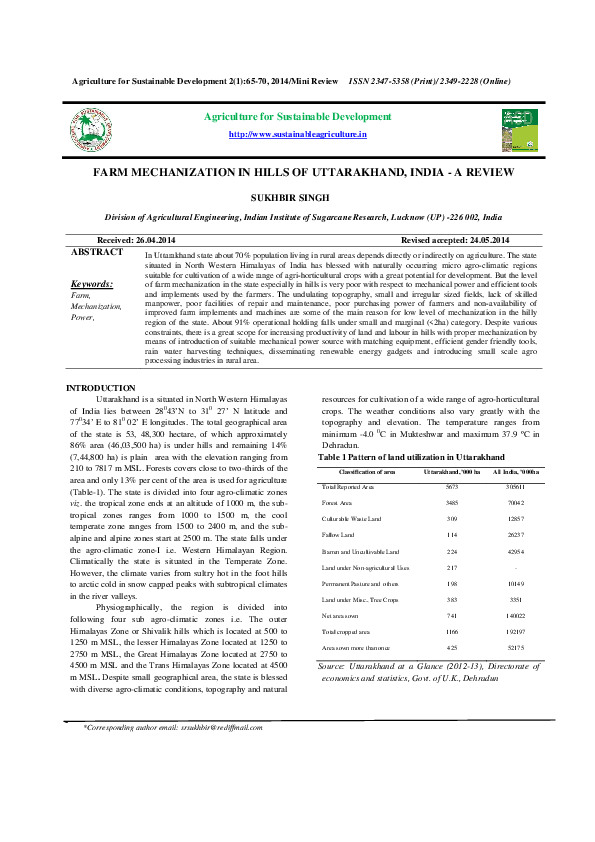 (PDF) Agriculture for Sustainable Development ISSN 2347