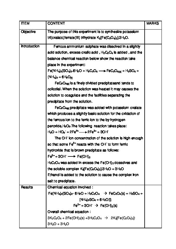 potassium tris oxalato ferrate iii trihydrate