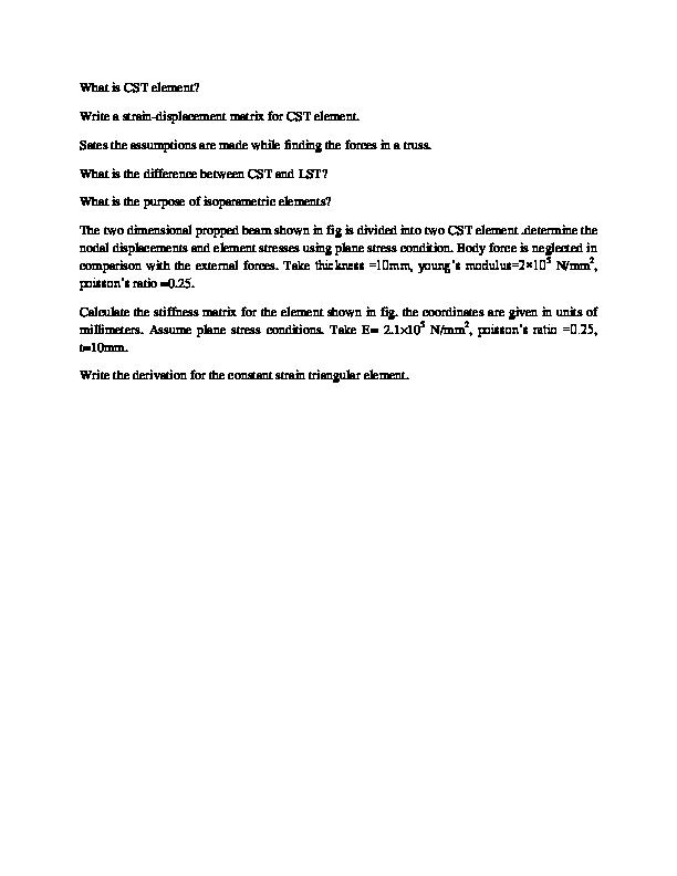 DOC) What is CST element? Write a strain-displacement matrix