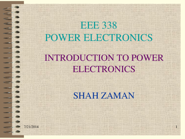 PPT) Introduction to Power Electronics | Muhammad Zaman