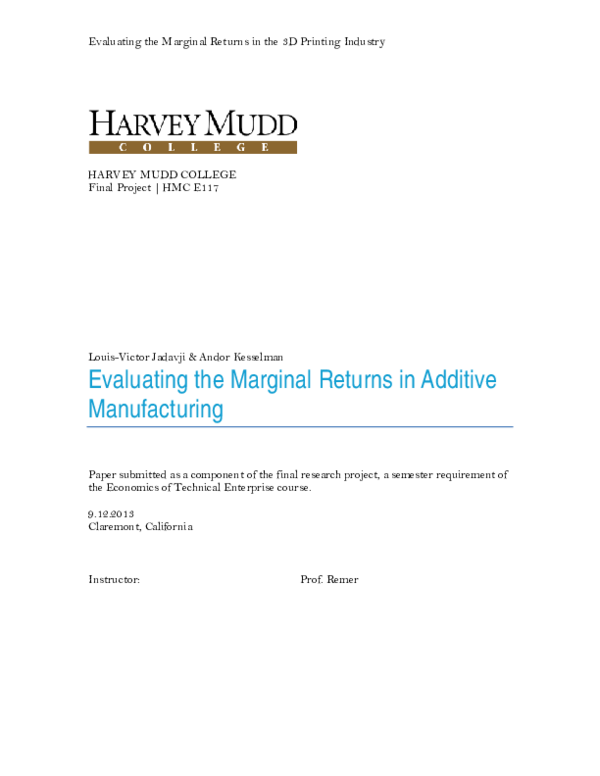 PDF) Evaluating the Marginal Returns in the 3D Printing