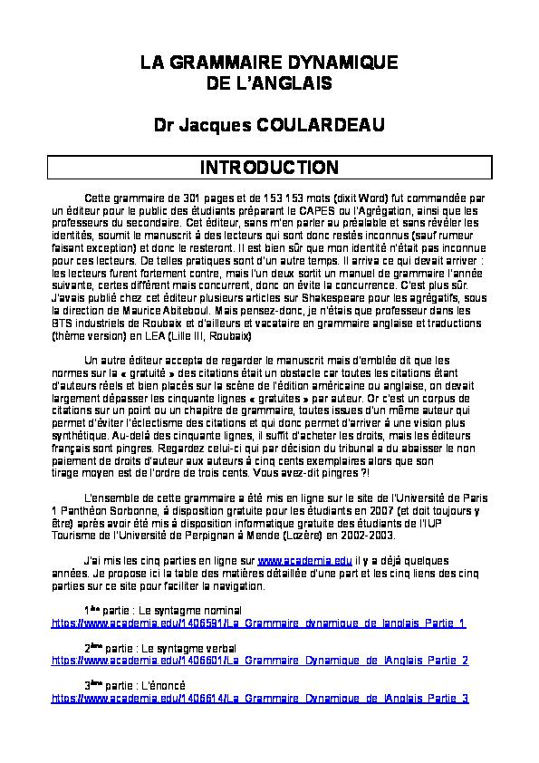 Doc Cours Complet De Grammaire Anglaise Avec Exercices Corriges Jacques Coulardeau Academia Edu