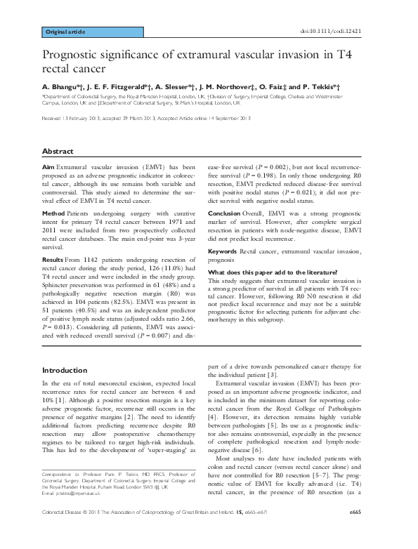 Pdf Prognostic Significance Of Extramural Vascular Invasion In T4 Rectal Cancer James Edward Fitzgerald Academia Edu