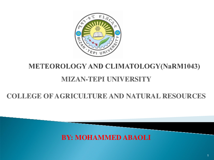 METEOROLOGY AND CLIMATOLOGY brief lecture notes | Mohammed Abaoli