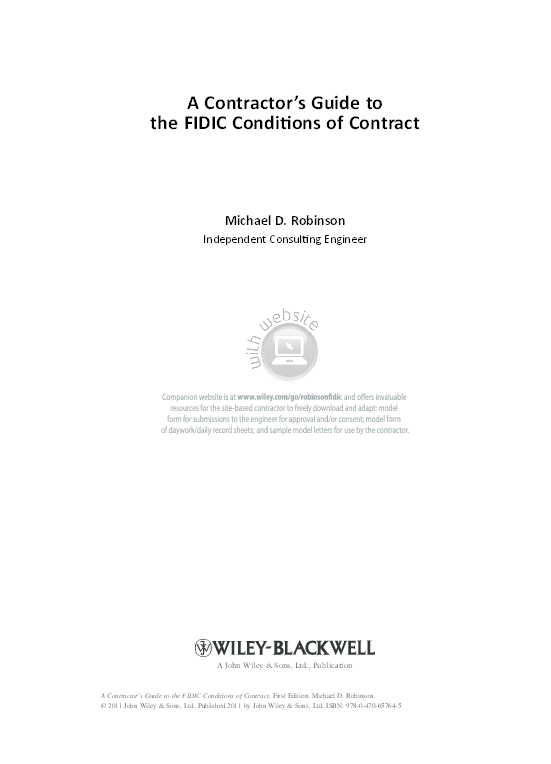 Pdf A Contractor S Guide To The Fidic Conditi Ons Of Contract A