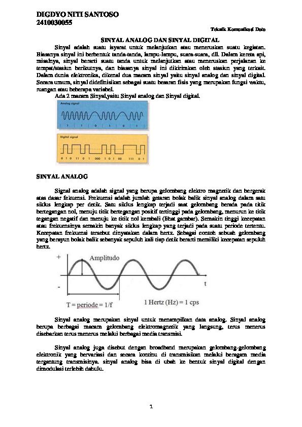 Doc Sinyal Analog Dan Sinyal Digital Digdyo Santoso Academia Edu