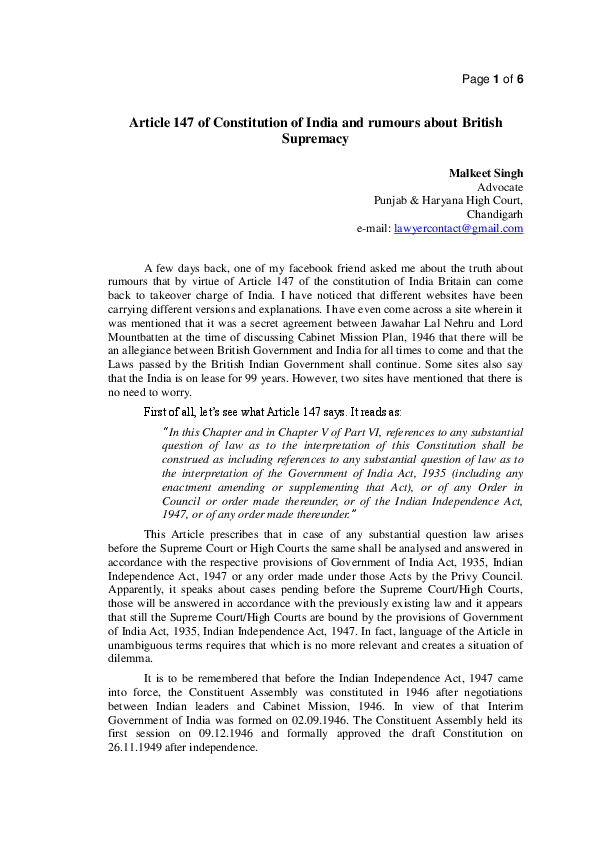 PDF) Article 147 of Constitution of India and rumours about