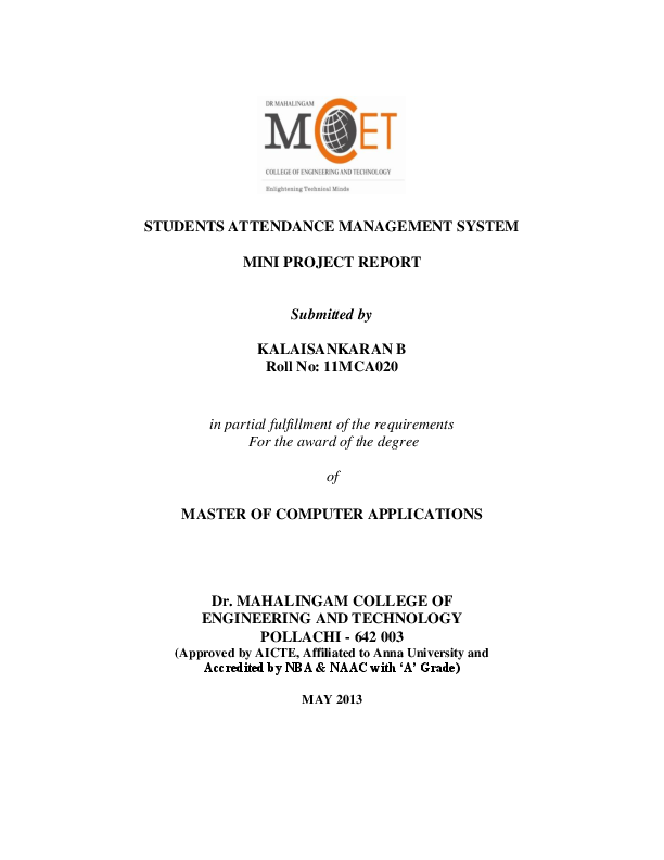 PDF) STUDENTS ATTENDANCE MANAGEMENT SYSTEM MINI PROJECT REPORT
