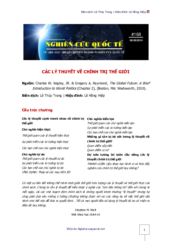 The global future a brief introduction to world politics pdf