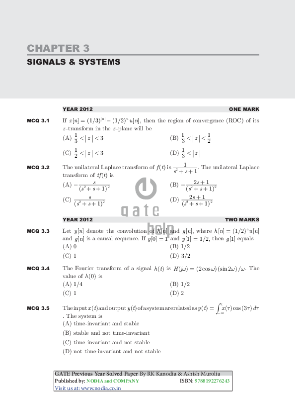 PDF) CHAPTER 3 SIGNALS & SYSTEMS GATE Previous Year Solved
