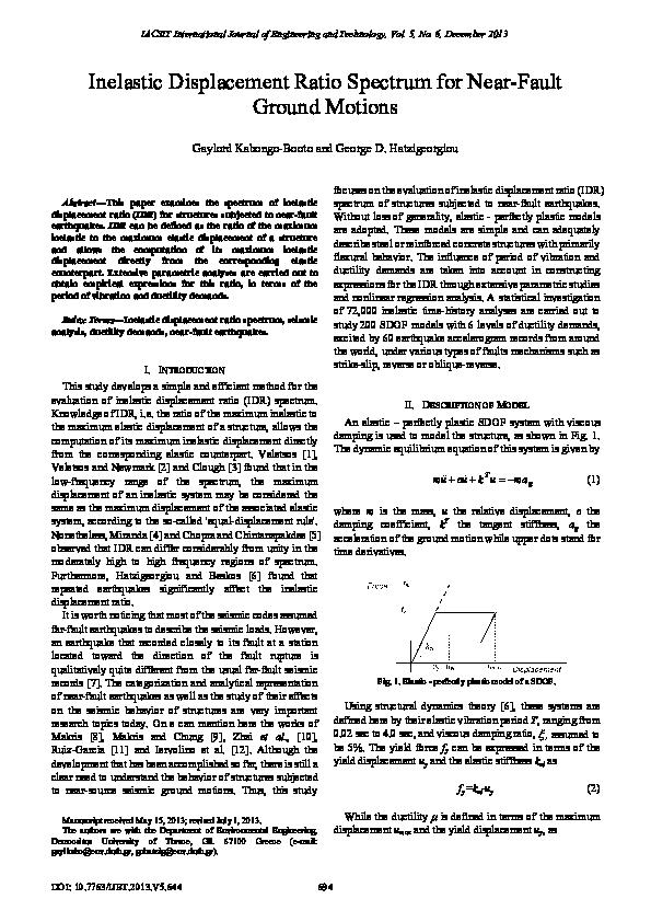 PDF) Inelastic Displacement Ratio Spectrum for Near-Fault