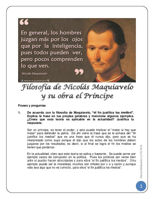 Doc Filosofia De Nicolas Maquiavelo Y Su Obra El Principe