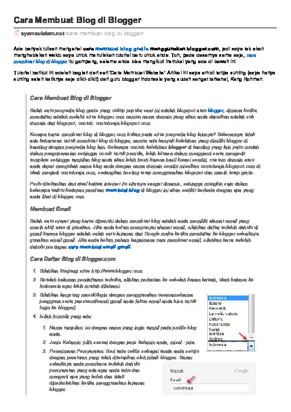 pdf cara membuat blog di blogger