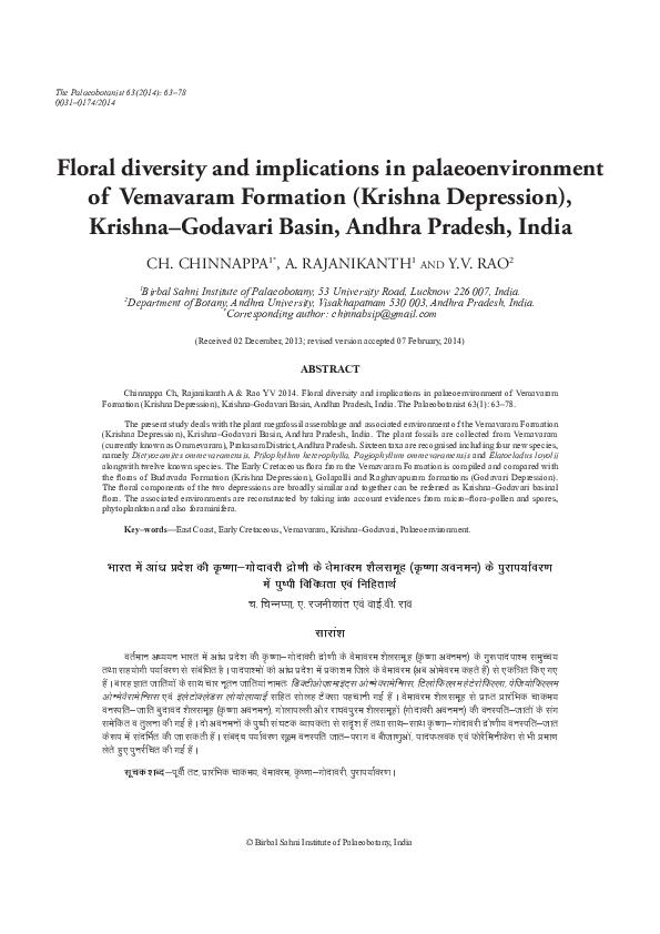 PDF) Floral diversity and implications in palaeoenvironment